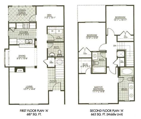 townhouse plans narrow lot three bedroom townhome tt third bedrooms
