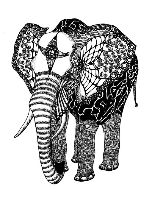 Abstract Black And White Animal Drawings by Elephant Abstracts Abstract Elephant Drawing