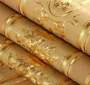 European Luxury Floral Striped Wallpaper Waterproof ...