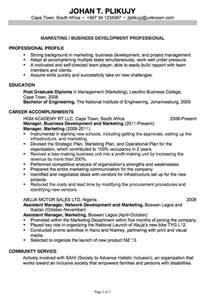 Business Resume Template Resume For Marketing Business Development Susan Resumes