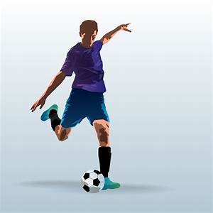 Soccer Player Kicking Ball Free Vector Art