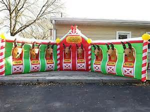 details about 17 huge airblown quot north pole reindeer stable quot inflatable holiday yard decor