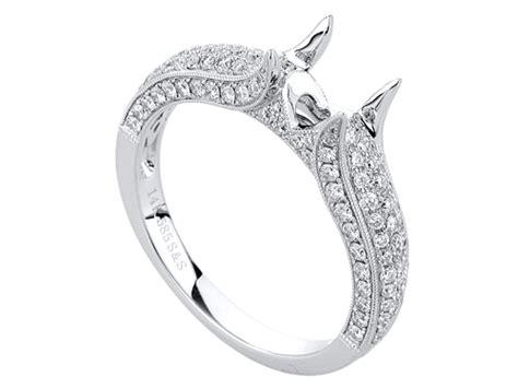 Pave Diamond Engagement Ring In 14 Karat White Gold