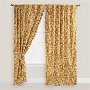 gold and white floral becco curtains set of 2 world market
