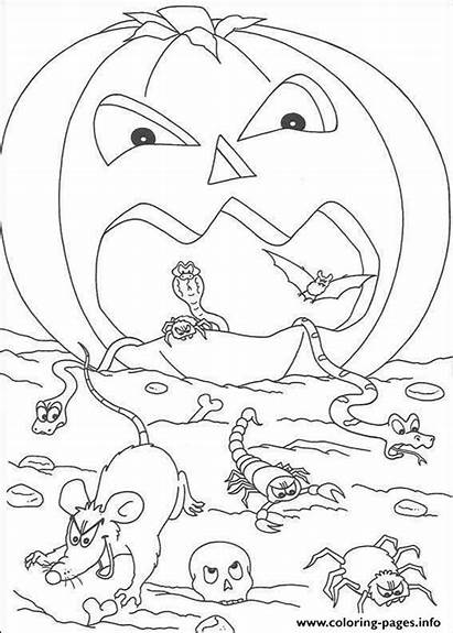 Coloring Halloween Pages Scary Pumpkin Goosebumps Printable