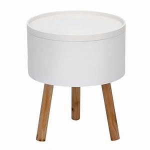 Tisch Rund Weiß : beistelltisch tablet 3 tisch mit tablett deckel rund in wei und massiver esche ebay ~ Markanthonyermac.com Haus und Dekorationen