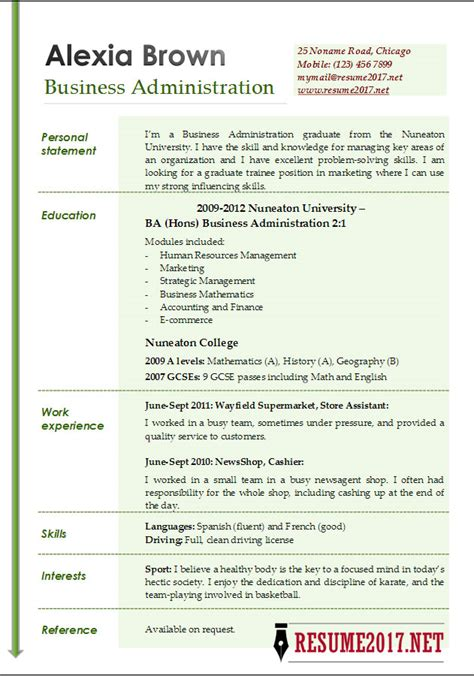 Resume Templates For Administration by Business Administration Resume Exles 2017
