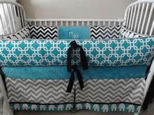 elephant teal gray black baby bedding crib set deposit