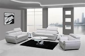 Naples, White, Leather, Living, Room