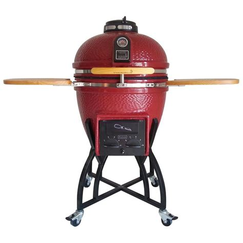 ceramic grills vision grills kamado professional ceramic charcoal grill in chili red with grill cover s cr4c1d1