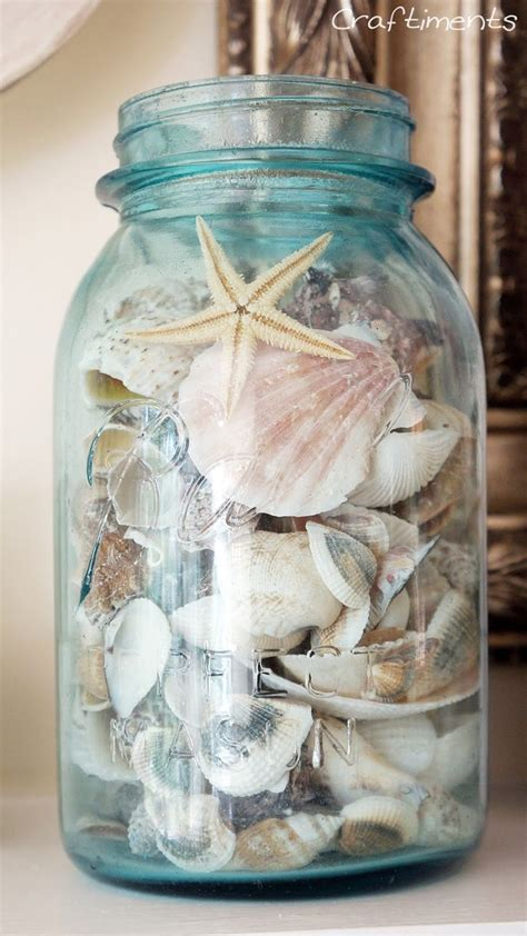 vintage mason jar filled  seashells beach decor