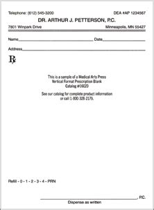 prescription template blank prescription rx pad and form template quill