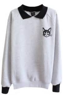 cat sweatshirt cat pattern sleeve sweatshirt with contrast collar