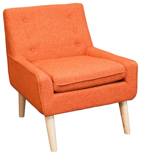 brocktson fabric retro accent chair orange midcentury