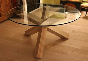 Table Plateau Verre Pied Bois : table verre pied central bois ~ Melissatoandfro.com Idées de Décoration