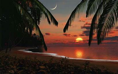 Tropical Island Sunset Wallpapers Backgrounds Beach Cave