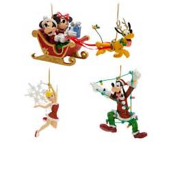 your wdw store disney christmas ornament set santa mickey and minnie in sleigh