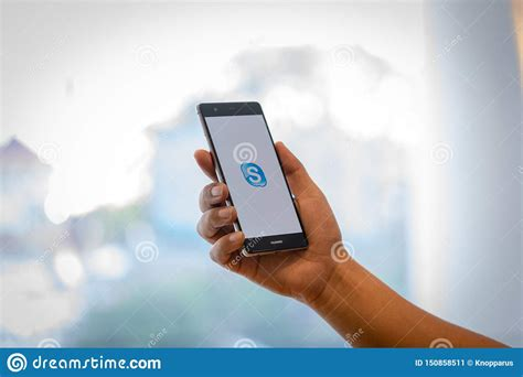 This official skype client app for android features the same functionality as its pc counterpart and lets you chat and talk with your friends. CHIANG MAI, THAILAND - Oct. 28,2018: Man Holding HUAWEI ...