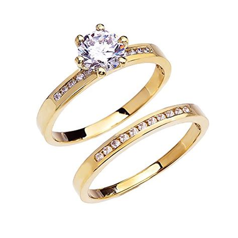 14k yellow gold channel set diamond engagement and wedding