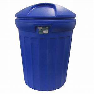 Shop Blue Hawk 32-Gallon Blue Plastic Outdoor Trash Can ...