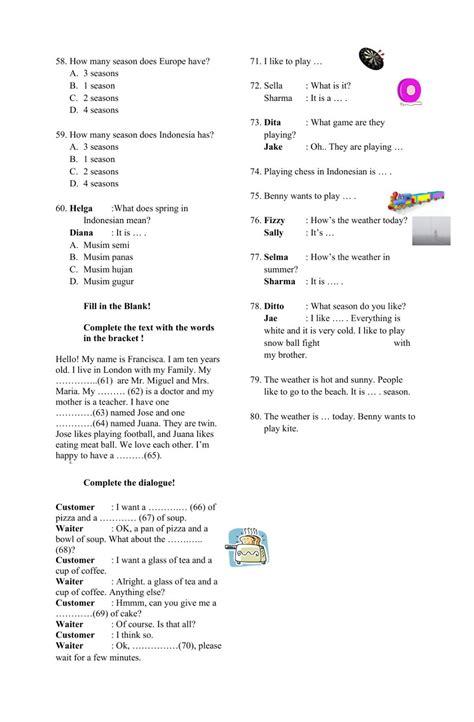 Soal uts bahasa inggris sma/smk kelas 12 semester 1. Kumpulan soal Bahasa Inggris kelas 4 worksheet