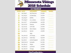 Printable Minnesota Vikings Schedule 2018 Season