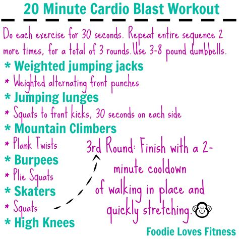 Bedroom Cardio Workout by 20 Minute Cardio Blast Workout Foodie Fitness