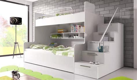 bureau d angles lit superpos avec escalier et rangements camille
