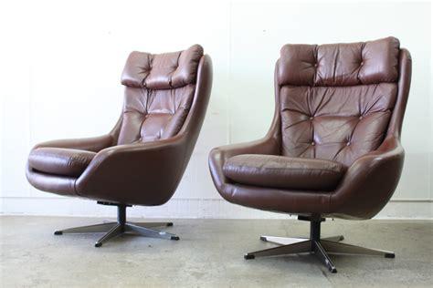 Leather Swivel Armchairs