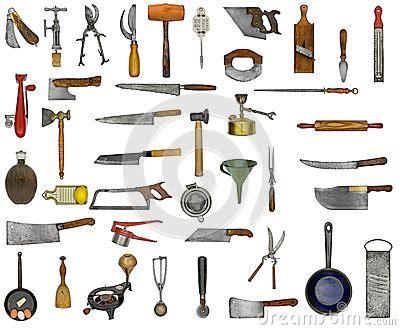 ustensiles de cuisine rigolo collage d 39 ustensiles de cuisine de vintage images libres