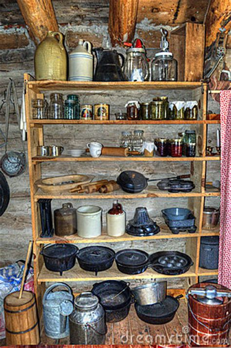 rustic  time log cabin pantry stock images image
