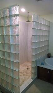Glass Block Shower Glass Block And Natural Stone Tile