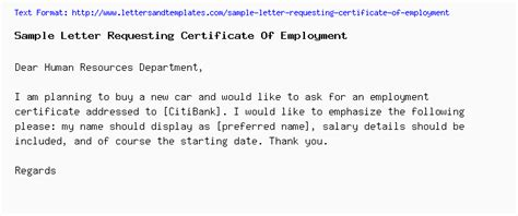 sample letter requesting certificate  employment