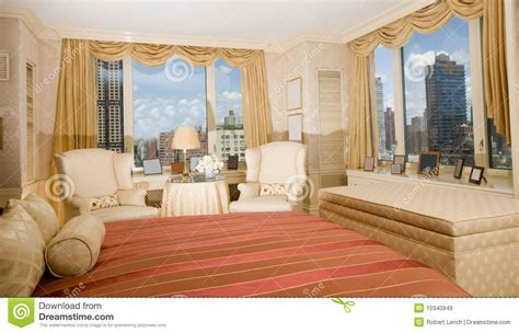 master bedroom suite penthouse  york royalty  stock