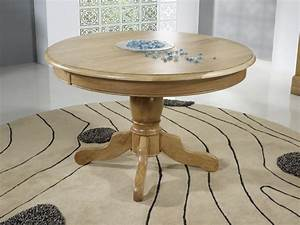 table ronde pied central en chene massif de style louis With table ronde bois massif
