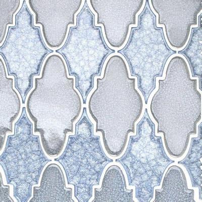blue arabesque tile splashback tile roman selection iced blue arabesque glass mosaic tile 3 in x 6 in tile