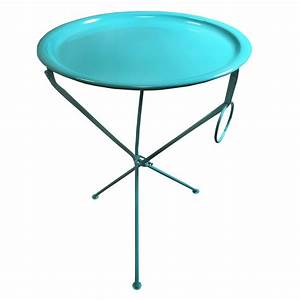 bright coloured metal folding coffee side table with With round metal tray coffee table