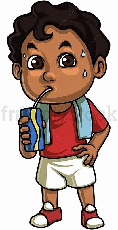 Drinking Water Boy Cartoon Clipart Kid Curly