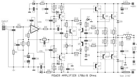 audio power amplifier circuit  ne schematic