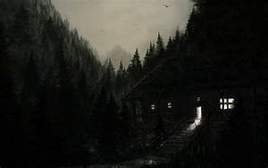 Dark, Spooky, Creepy, Cabin, Houses, Architecture, Buildings, Trees, Forest, Landscapes, Night, Lights