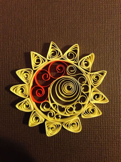 quilled embellished sun  melli quilling paper