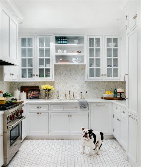 shaped kitchen  white hexagon floor tiles