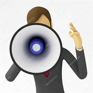3d businessman doing megaphone announcement — Stock Photo ...