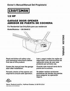 Craftsman 1  2 Hp Garage Door Opener Model 139 5364812 User