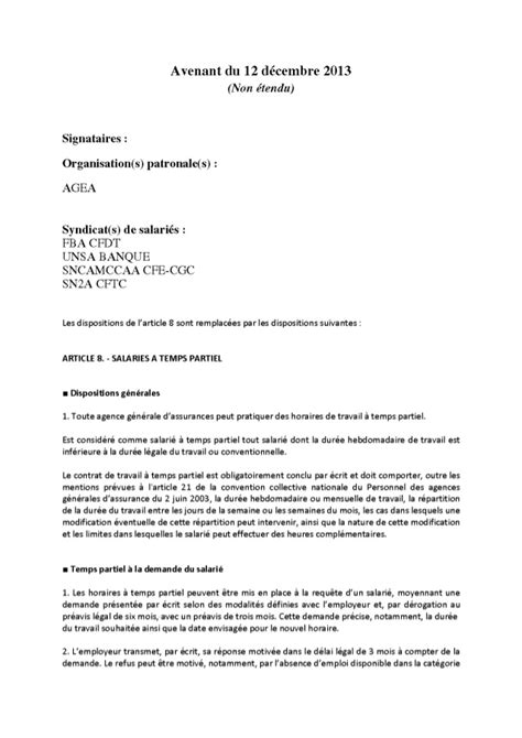 Modification Du Temps De Travail by Assurance G 233 N 233 Rale Avenant Am 233 Nagement R 233 Duction Temps