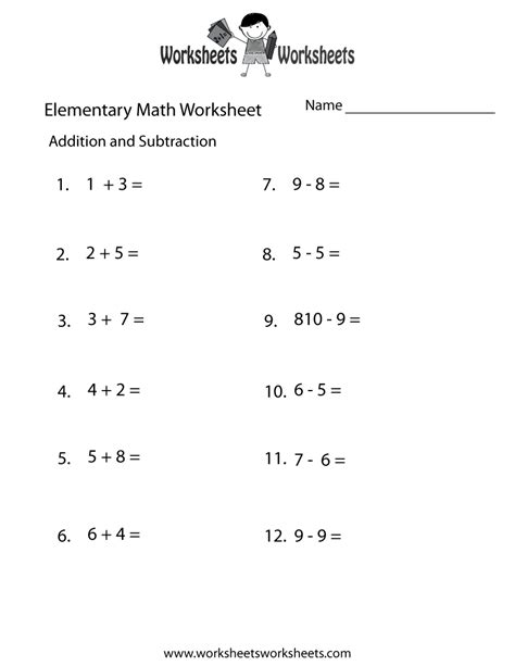 addition  subtraction elementary math worksheet