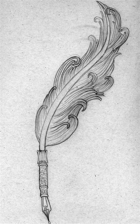 quill tattoo | drawing of a feather quill pen that I