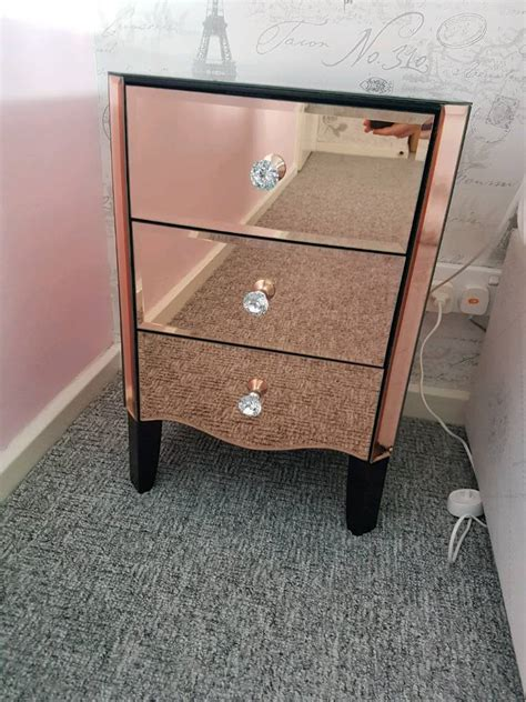 rose gold bedside table pair of dunelm quot viola quot rose gold mirrored bedside tables