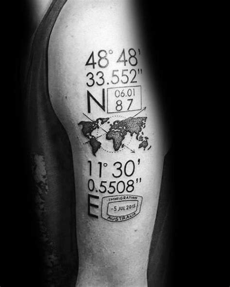 50 Coordinate Tattoo Ideas For Men - Geographic Landmark