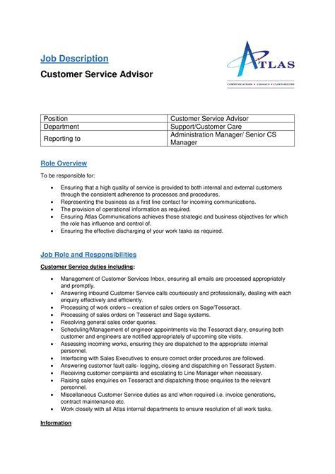 Customer Service Description Resume by My Publications Customer Service Advisor Description